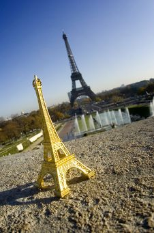 Eiffel Tower Miniature In Front Of Real Tower Stock Photography