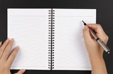 Free Hands, Pen And A Notebook Stock Images - 13792864