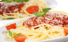 Plate With Pasta With Vegetables Stock Photography