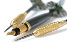 Pen And Darts Stock Photos