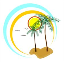 Colorful Painting With Two Palm-trees Stock Images