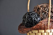 Wicker Handmade Basket And Spheres Royalty Free Stock Photo
