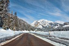 Snow On The Dolomites Mountains, Italy Royalty Free Stock Photos