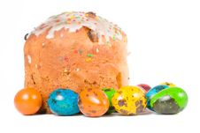 Free Easter Cake And Colored Eggs Royalty Free Stock Images - 13797099