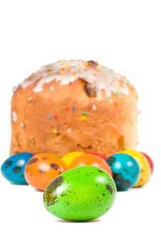 Free Easter Cake And Colored Eggs Royalty Free Stock Photo - 13797125