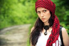Free Girl In A Red Kerchief Stock Image - 13798851