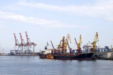 Cargo Cranes And Vessel Royalty Free Stock Images