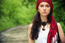 Free Girl In A Red Kerchief Stock Photography - 13798942