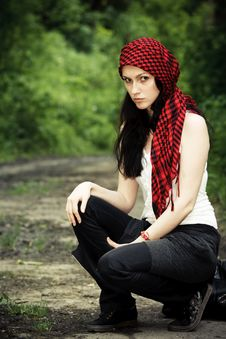 Free Girl In A Red Kerchief Royalty Free Stock Image - 13799186