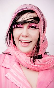 Young Beauty Girl In Pink Stock Photos