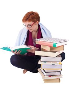 Free Girl With Books Royalty Free Stock Photo - 13799985