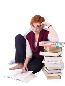 Free Girl With Books Stock Photo - 13799990