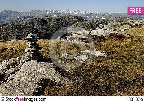 Mountain lake and rocks Stock Photo