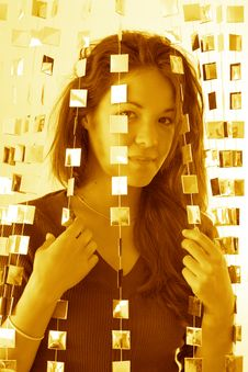 Free Woman Behind Mirrored Beads Stock Photography - 1380092