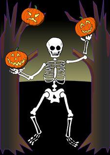 Free Skeleton Juggling Pumpkins Stock Photo - 1381470