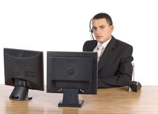 Free Businessman At He Computer S Screens Stock Image - 1383271