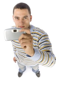 Headshot Of Young Man With Palmtop / Mobile Phone Stock Images