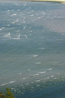 Little Waves In The Sea Of Saint Michel-en-Grève (Bretagne) Stock Images