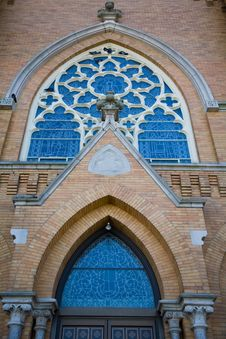 Arch Door And Window Of A Small Town Church Stock Photos