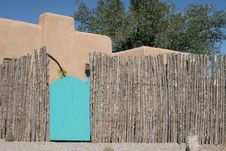 Free Turquoise Gate With Wooden Fence Royalty Free Stock Photos - 1385298