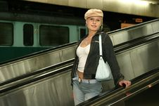 Girl At A Train Station Stock Images