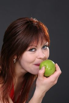 Free Girl With Apple Stock Photography - 1388462