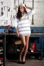 Free Fashion Shot In Auto Repair Shop. Stock Images - 13800034