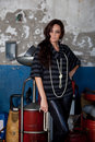 Free Fashion Shot In Auto Repair Shop. Royalty Free Stock Photography - 13800067