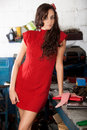 Free Fashion Shot In Auto Repair Shop. Royalty Free Stock Image - 13800076