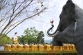Free Sculpture Of Buddha Teaching Monks And Animals Stock Images - 13802714