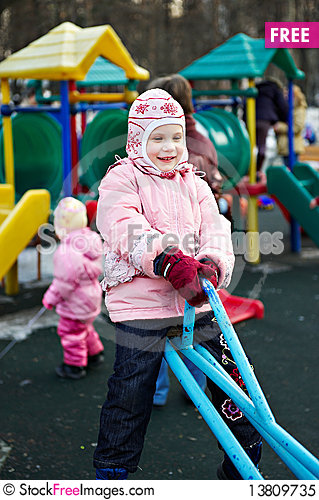 Free Little Girl On A Walk In Swing Royalty Free Stock Photo - 13809735