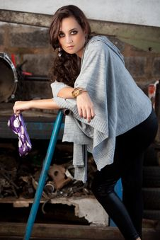 Free Fashion Shot In Auto Repair Shop. Royalty Free Stock Image - 13800036