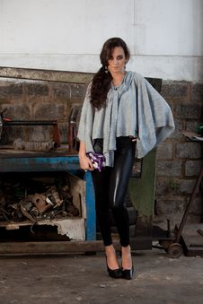 Free Fashion Shot In Auto Repair Shop. Stock Photo - 13800040