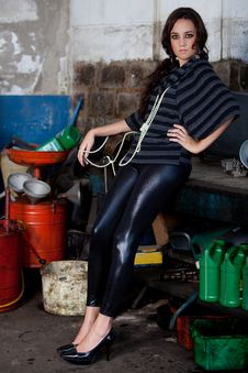 Free Fashion Shot In Auto Repair Shop. Stock Photography - 13800042