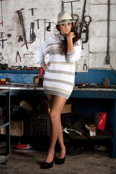 Free Fashion Shot In Auto Repair Shop. Stock Photos - 13800063