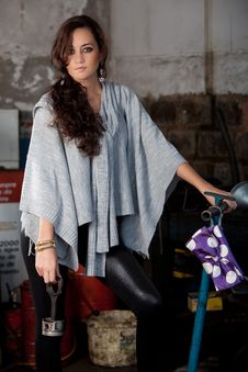 Free Fashion Shot In Auto Repair Shop. Royalty Free Stock Image - 13800066