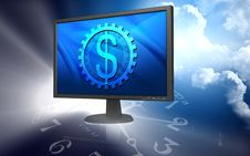 Free Tft Monitor And Dollar Sign Stock Image - 13800661