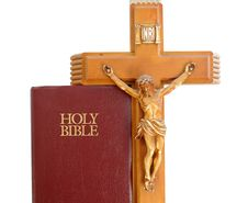 Holy Bibile With Crucifix Stock Photo