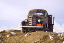 Classic Truck With Wooden Truck Bed Stock Images