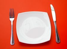 Free Knife, Plate And Fork Top View Stock Photos - 13801343