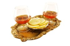 Free Two Glasses Of Brandy On A Tray Royalty Free Stock Photos - 13801648