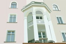 Free Facade Of House With White Columns Royalty Free Stock Image - 13801806