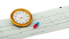 Free Heart Cardiogram Clock Royalty Free Stock Image - 13802146