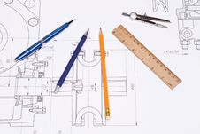 Compasses, Pen And Ruler Stock Photo