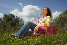 Woman In Summer Day Rest In Open Air Royalty Free Stock Photo