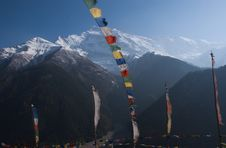 Free Buddist Flags In Front Of Annapurna Royalty Free Stock Photography - 13804257