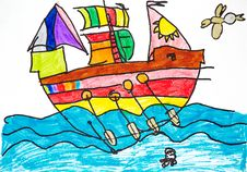 Free Colorful Ship With Oars And Sails Royalty Free Stock Photography - 13804307