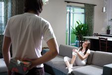 Free Boy And Girl On Sofa Stock Photos - 13804383