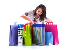 Free Happy Shopping Girl Royalty Free Stock Photo - 13804615
