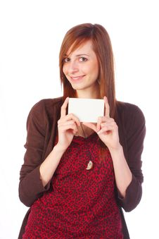 Free Smiling Girl Holding An Empty Card, Isolated Royalty Free Stock Photography - 13804687